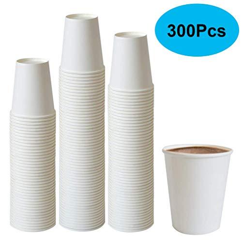 Tebery 300 x 7oz Einwegbecher Kaffeebecher Hochwertiger Hitzebeständiger 190 ml Coffee-to-Go Papier Tassen Edles Design Papierbecher Für Cappuccino Latte Macchiato Milchkaffee