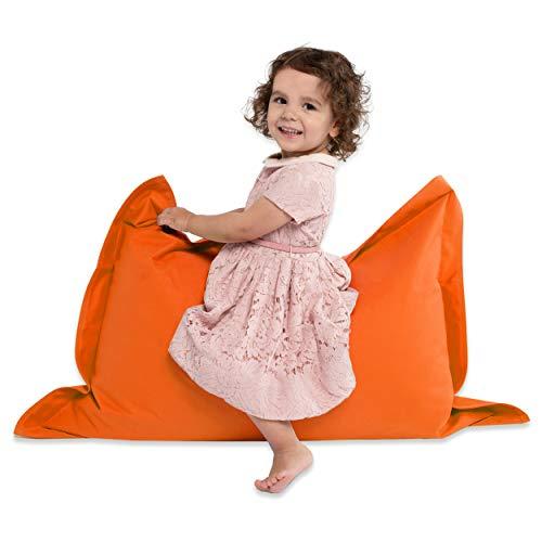 Green Bean © BeBi Mini Sitzsack 100x70 cm - 70 Liter EPS Perlen Füllung - PVC Bezug - Indoor & Outdoor Beanbag für Kinder - Sitzkissen Bean Bag Bodenkissen - Kindersitzsack Stuhl - Orange