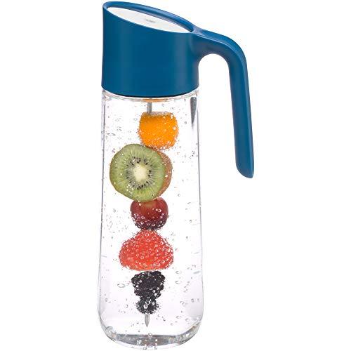 WMF Nuro Wasserkaraffe 1,0l, mit Griff und Fruchtspieß, Höhe 29,7 cm, Glas-Karaffe, CloseUp-Verschluss, blau