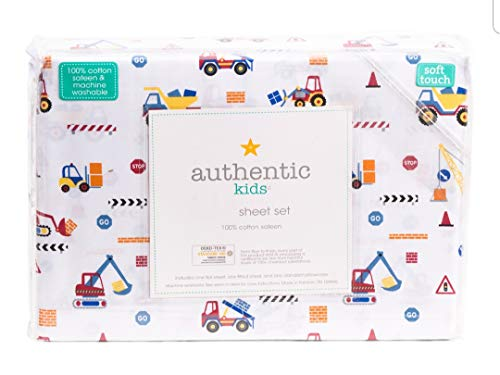 Authentic Kids 3 Piece Twin Sheet Set Cotton Construction Trucks Hoes Tractors Red Blue Yellow White (Twin)