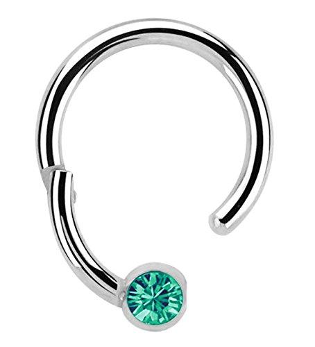 Modern Nature Piercing-Schmuck Lippenpiercing 316l Stahl Ring BCR, Clicker 1,2 x 8 mm mit 3 mm Steinplatte in grün-türkis