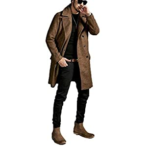 Men's Wool Blend Double Breasted Slim Fit Pea Coat for Business