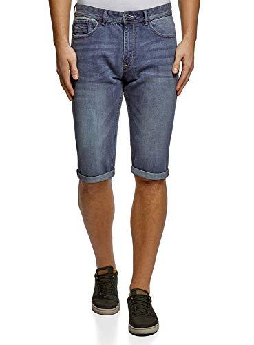 oodji Ultra Hombre Pantalones Cortos Vaqueros con Dobladillos