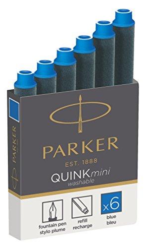 Parker 1950409 Quink Nachfüllpatronen für Füllfederhalter, kurze Patronen, 6er Packung, blaue tinte