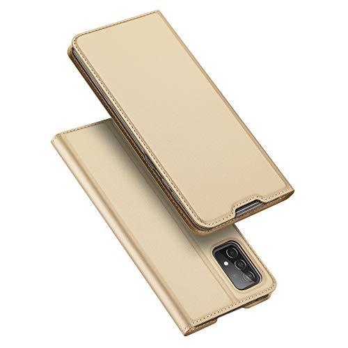 Funda para Samsung Galaxy A52 5G Ultra Slim PU Cuero Flip Folio Case con cierre magnético - Oro