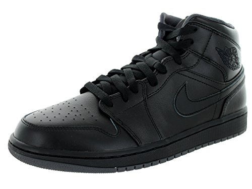 Nike Men's Air Jordan 1 Mid Black/Black/Dark Grey Basketball Shoe - 10...