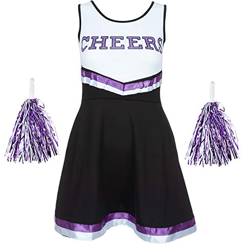Redstar Fancy Dress - Damen Cheerleader-Kostüm - Uniform mit Pompons - Halloween, American High School - 6 Größen 34-44 - Schwarz/Lila - M