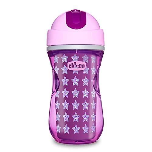 Chicco Sport Cup Bicchiere Antigoccia per Bambini 266 ml, Tazza Biberon 14+ Mesi per Imparare a Bere, Bottiglia Termica con Cannuccia in Silicone Flessibile Resistente ai Morsi, senza BPA - Rosa