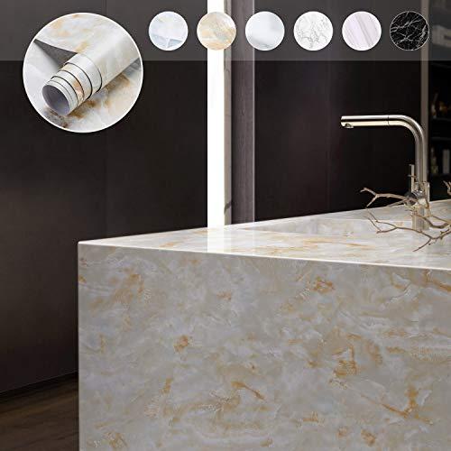 KINLO Marmor klebefolie 0.61 * 5M Selbstklebende Möbelaufkleber Aufkleber PVC Wasserdicht Marmorfolie für Möbel Tisch Dekofolie Möbelsticker Folie Tapete für Küchenschränke (Type B)