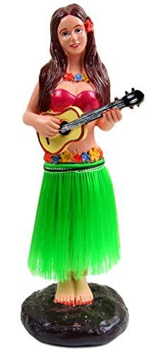 Dashboard Hula Girl Bobblehead Figurine 6' Grass Skirt Dancing Ukelele Hawaii Desk Mantle