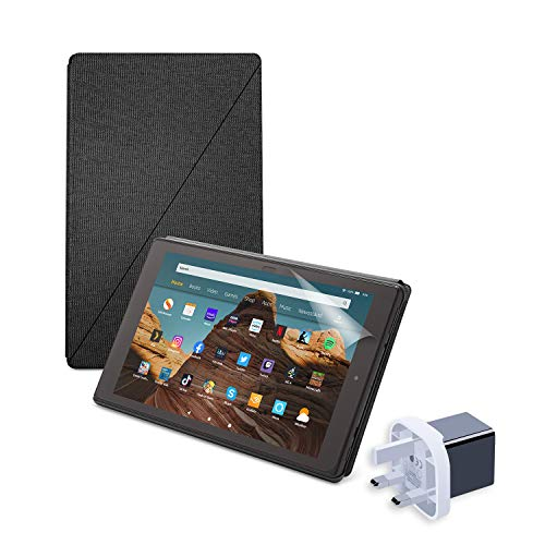 Fire HD 10 Essentials Bundle   Includes Fire HD 10 Tablet (32GB, Black, without Ads) + Amazon Standing Case (Charchoal Black) + NuPro Screen Protector (2-Pack) + 15W USB-C Charger