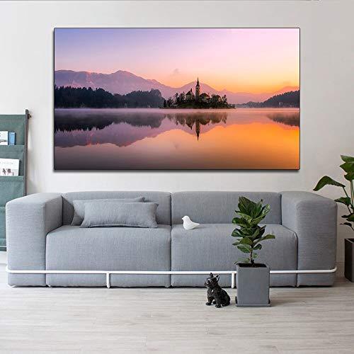 Landschaft Sonnenuntergang Leinwand Poster auf der Insel Wandkunst Leinwand Wohnzimmer Hauptdekoration rahmenlose Malerei 50cmX87cm
