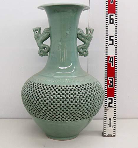 伝統工芸 高級品|高麗青磁 壺青磁の花器|芸泉 |高さ 65㎝ G4491