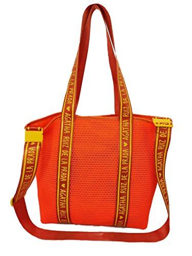Bolso de mujer bandolera naranja con asa para hombro shopper de malla Agatha Ruiz de la Prada