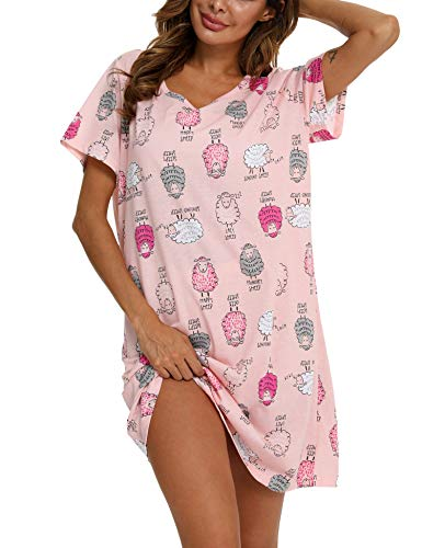ENJOYNIGHT Women's Sleepwear Cotton Sleep Tee Short Sleeves Print Sleepshirt (X-Large, Sheep) (Apparel)