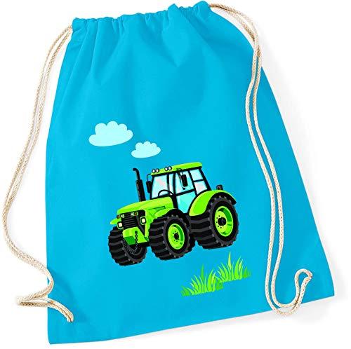 Stoffbeutel für Jungen   Motiv Traktor Bulldog mit Wolken & Gras   Schuhbeutel Sportbeutel zum Zuziehen für Kinder   Turnbeutel mit Kordel in blau grau grün (surfblau)