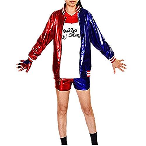 Mitef - disfraz de esquadrón suicida Harley Quinn para Halloween, juegos de disfraces para mujer -  Negro -  X-Large