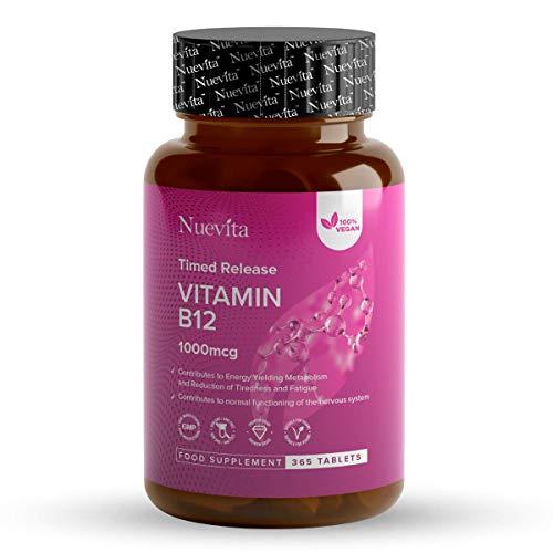 Vitamin B12 1000mcg | High Strength Timed Release B12 | 365 Vegan Tablets 12 Month Supply