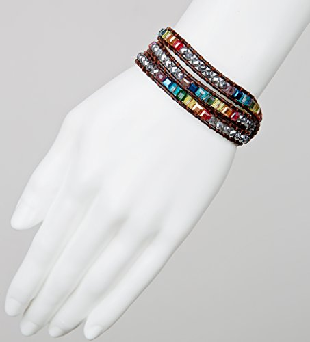 SPUNKYsoul New! 7 Chakra Balancing Leather Wrap Crystal Bracelet with Hematite for Women Collection