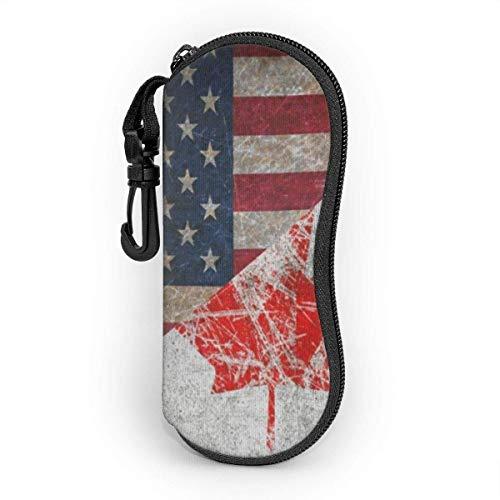 Funda de Gafas Hoja de arce retro Canadá y Estados Unidos bandera combinación de amistad Ultra Ligero Neopreno Suaves viaje Estuche para Gafas de caso Bolsa con Clip de Cinturón