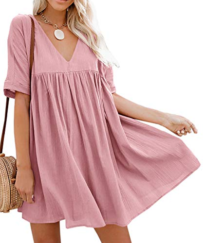 Hestenve Women's Short Sleeve V Neck Pleated Babydoll Solid Color Tunic Party Swing Mini Dress Pink