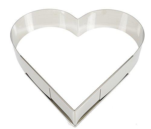 Hobbybäcker Herz-Backrahmen, ►Herz-Form, Tortenring, ► Hochzeit, Muttertag, verstellbar von 29 - 38 cm, aus Edelstahl