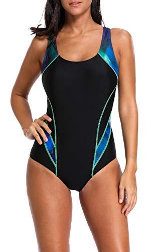 BeautyIn Damen Einteiler Bademode Slim Schwimmanzug Sportlich Badeanzug Bauchweg S