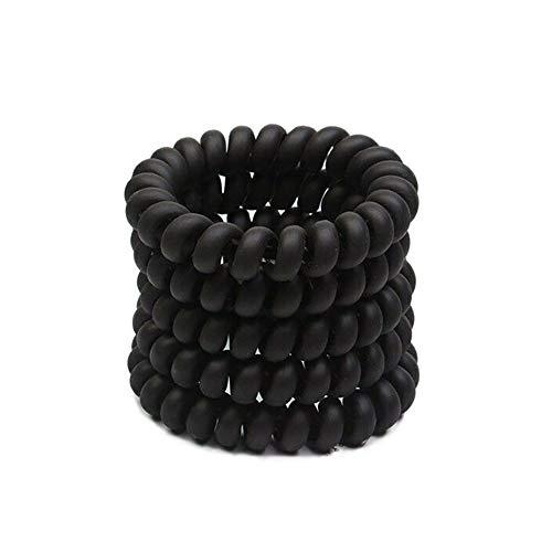 Spiral Hair Ties, Women Elastic Hair Rubber Band Tie Headband Telephone Wire Cord Line Holder (Black 5pcs)