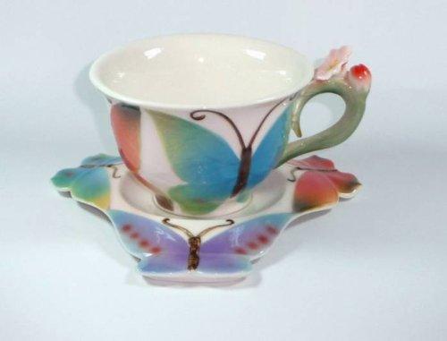 1254 Teetasse mit Untertasse Schmetterling Porzellan