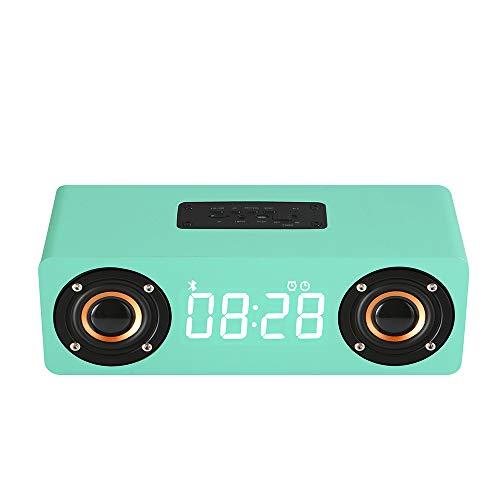Tlyd LED réveil numérique Haut-Parleur Bluetooth en Bois Haute définition Radio Microphone FM Compatible Smart Convient pour Home Office Dortoir