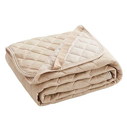 VK Living 敷きパッド 夏用 セミダブル リバーシブル 冷感 しきぱっと ひんやり シーツ オールシーズンで使える 吸湿速乾 洗える ベッドパッド 防ダニ 抗菌防臭 一年間品質保証 120×200cm ベージュ