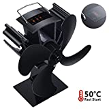 Wood Stove Fan Heat Powered Stove Fan 4 Blades with Thermometer Fireplace Fan Silent Operation for Wood Stove/Log Burner/Fireplace Increases 90% More Warm air - Eco Friendly and Efficient