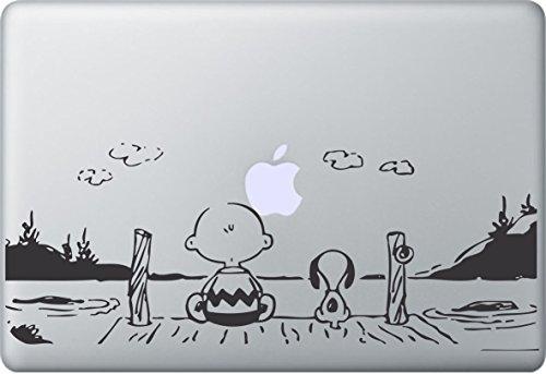 MacDecalDE SNOOPY PEANUTS SUNSET kompatibel mit/Ersatz für Apple MacBook Air Pro Auto Aufkleber Sticker Skin Decal