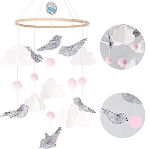 Bettglocke, Baby Windspiel Junge, Baby Windspiel, Mobile für Babybett, Mobile Krippe, Krippe Mobile für Jungen und Mädchen (Rosa Taube)
