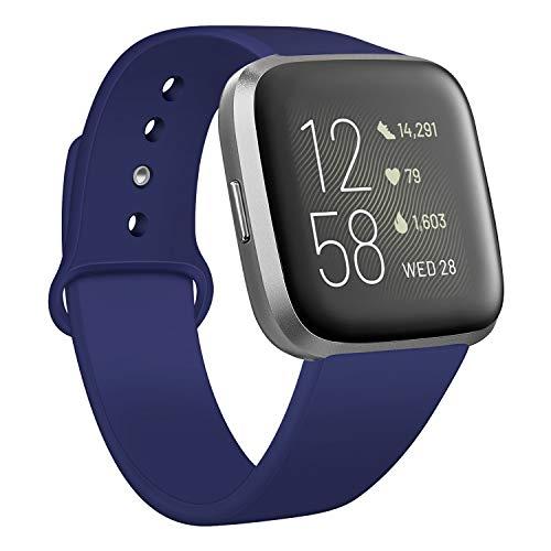 Deilin Armband für Fitbit Versa/Fitbit Versa Lite für Damen und Herren, Silikon Sport Armband Weiches Verstellbares Armband für Fit bit Versa Smartwatch (Blau, L)