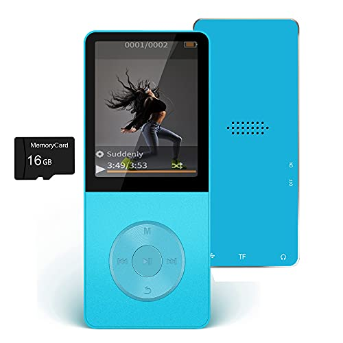 16GB MP3 Player, Hotechs Music Player with FM Radio, Recording, HiFi Lossless Sound with Built-in Speaker, Support up to 128GB