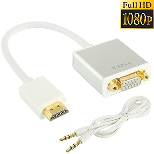 VGA Hembra a Macho HDMI, 22cm HD 1080P HDMI de 19 espigas Macho a VGA Hembra Cable Adaptador de vídeo con Audio por Cable Yishang