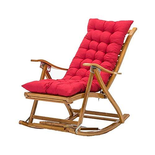 Bseack Fauteuil à Bascule, Fauteuil Pliant avec Repose-Pieds Fauteuil de Salon avec terrasse et Balcon à Angle de 170 ° réglable (Couleur : Rouge)