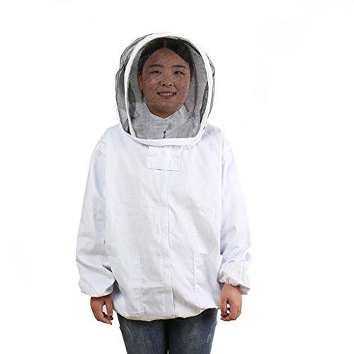 H HILABEE Giacca Protettiva per Apicoltura Velo Ape Completo da Uomo Cappellino Bianco