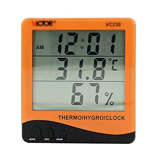ZzheHou Termometro Igrometro Temperatura della Famiglia E Misuratore di umidità con Display Digitale E Temperatura Dell'orologio E Misuratore di umidità (Colore : Orange, Size : 10.5x9.5CM)