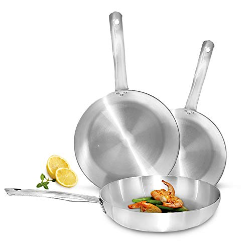 Royal Frying Pan with Safe Aluminium - Stainless Steel Grip Frying Pans - Stainless Steel Pan for Gas, Electric, Glass, Ceramic and Halogen - Dishwasher Safe Cooking Pans (34 cm)
