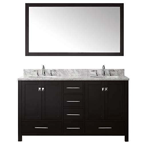 Virtu USA Caroline Avenue 60 inch Double Sink Bathroom Vanity Set in Espresso w/Square Undermount Sink, Italian Carrara White Marble Countertop, No Faucet, 1 Mirror - GD-50060-WMSQ-ES