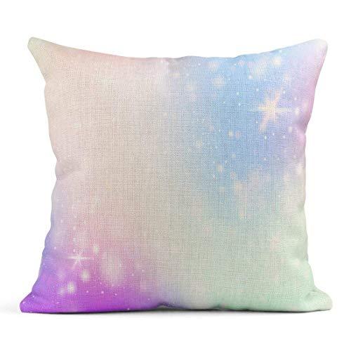 Kinhevao Cojín Unicornio Rainbow Mesh Universo místico en Colores Princesa Fantasía Gradiente Holograma Holográfico Cojín de Lino mágico Almohada Decorativa para el hogar