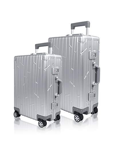 Gundel Aluminium Koffer Set Cabin Trolley Handgepäck 55x40x20 cm 35L Reisekoffer Check-in 66x43x23 cm H/B/T 55L 4x360° Rollen Silber Bundle 2X TSA-Zahlenschloss