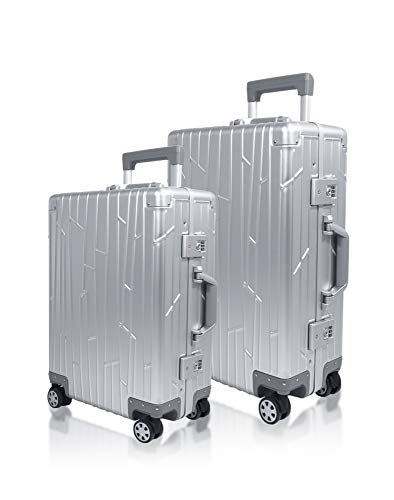 Gundel Aluminium Koffer Set Cabin Trolley Handgepäck 55x40x20 cm 35L Reisekoffer Check-in 66x43x23 cm H/B/T 55L 4x360° Rollen Silber Bundle 2X...