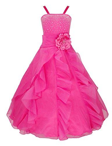 iEFiEL Mädchen Kinder Kleider Festlich Lang Brautjungfern Kleid Prinzessin Hochzeit Party Kleid Gr. 92-164 Rose 128
