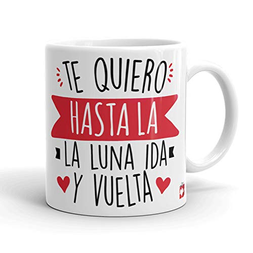 Kembilove Taza Desayuno para Parejas – Tazas Originales con Mensaje Te quiero hasta la luna ida y vuelta – Taza de Café y Té para Madres – Tazas de Regalo para el día de San Valentín – Tazas de 350 ml