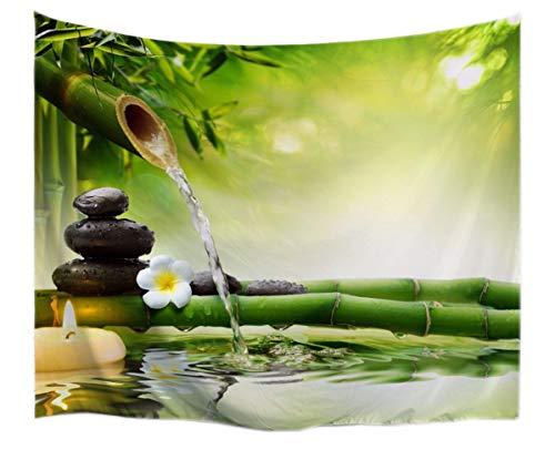 A.Monamour Tapices Zen Idea De La Meditación Bambú Verde Agua Paisaje Natural Imprimir Paño Respetuoso del Medio Ambiente Que Cuelga Tapicería Yoga Mantas 102x153cm
