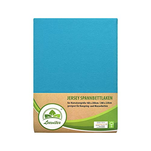 leevitex Colours SPANNBETTLAKEN | WASSERBETTEN & BOXSPRINGBETT | SPANNBETTUCH | ÖKO-TEX | 180x200 – 200x220 cm | 100% Jersey-Baumwolle | 150 g/m² | 40 cm Steg | Türkis/Ocean