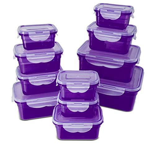 My Home Frischhaltedosen Klickverschluss, Luftdichte Aufbewahrungsboxen, 22 Teile, geeignet für Mikrowelle, Gefrierschrank und Spülmaschine, lila